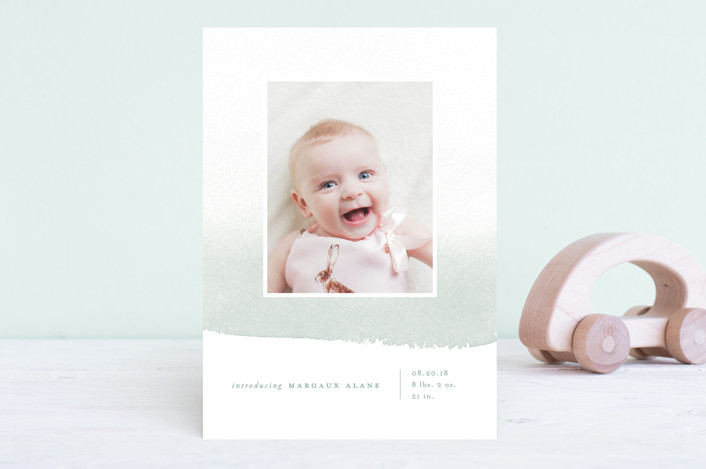 """Delicate Ombre"" - Modern Birth Announcements in Precious Pink by Oscar & Emma."