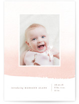 This is a pink birth announcement by Oscar & Emma called Delicate Ombre with standard printing on smooth signature in standard.