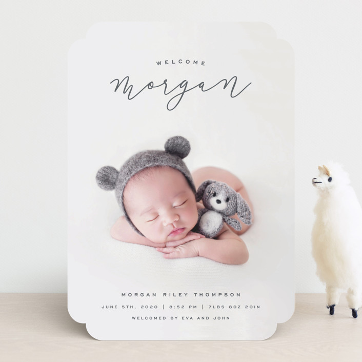 """""""Casual Script"""" - Birth Announcements in Snow by Hooray Creative."""