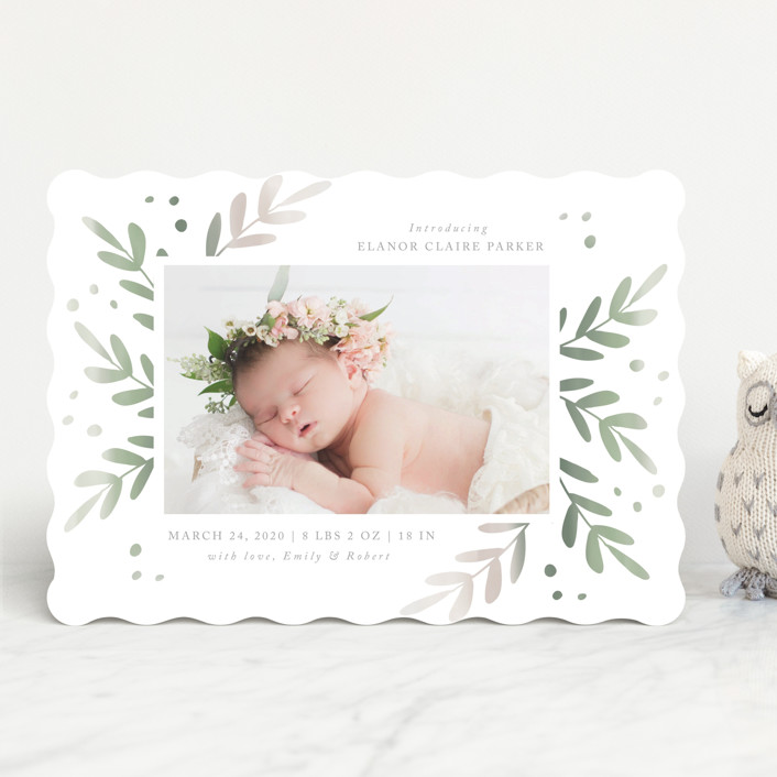 """""""Foliage Frame"""" - Birth Announcements in Sage by Roopali."""