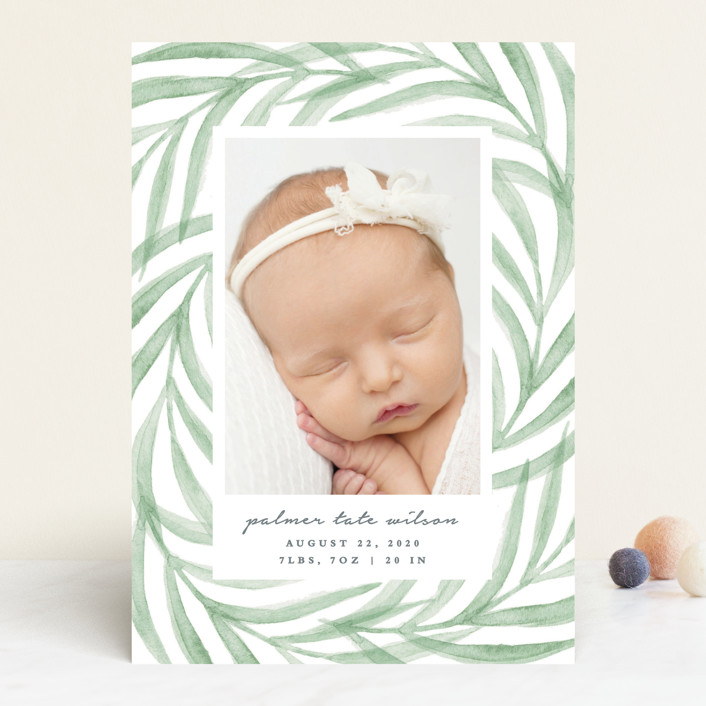 """""""Pretty Leaves"""" - Birth Announcements in Leaf by Olivia Raufman."""