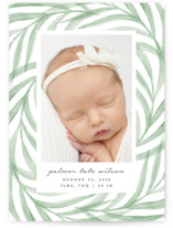 This is a green birth announcement by Olivia Raufman called Pretty Leaves with standard printing on smooth signature in standard.