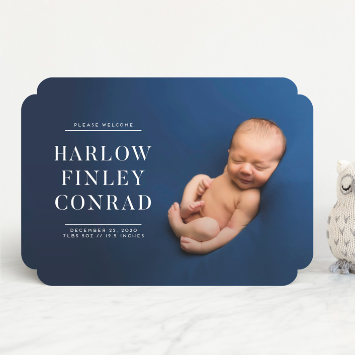 """""""Bold Babe"""" - Preppy Birth Announcements in Snow by Jessica Voong."""