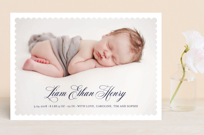 """Scalloped Border"" - Preppy Birth Announcements in Admiral by Vanessa Doyle."