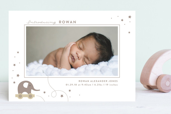 """elephant toy"" - Preppy Birth Announcements in Mint by Faith Dorn."