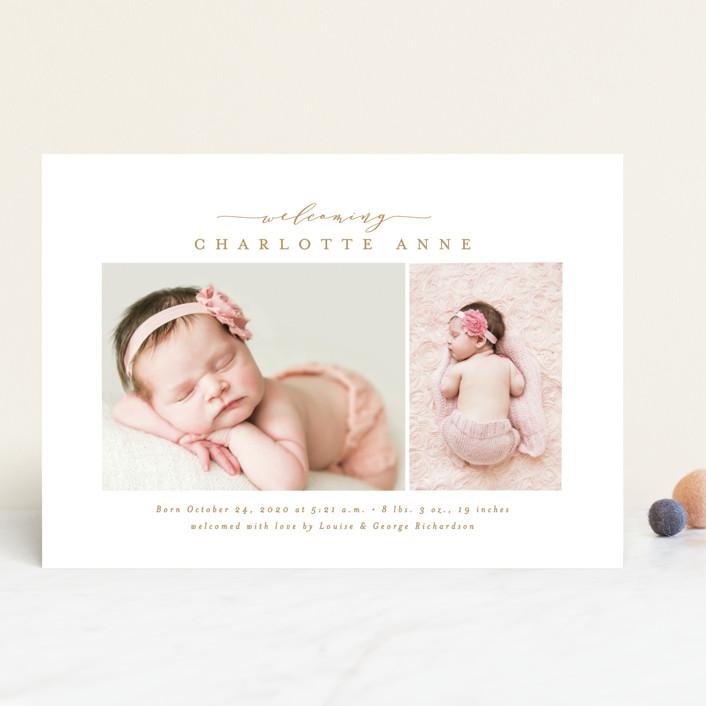 """Elegant Welcoming"" - Birth Announcements in Slate by Ana Sharpe."