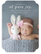 This is a white birth announcement by Kimberly FitzSimons called Purest Joy with standard printing on smooth signature in standard.