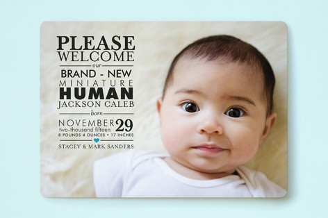 Mini Human Birth Announcements by GeekInk Design – Photo Birth Announcement
