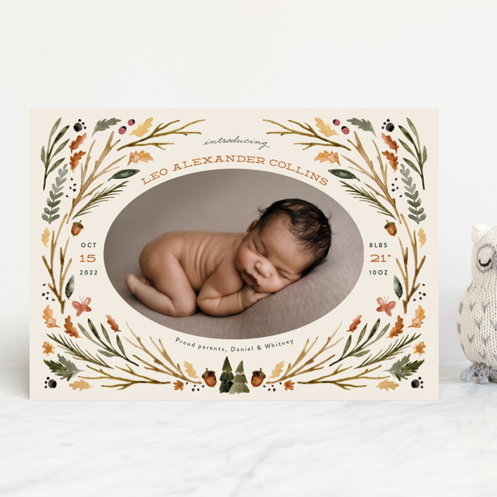 """woodland watercolor"" - Whimsical & Funny Birth Announcements in Butternut by Kate Ahn."
