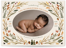 This is a brown birth announcement by Kate Ahn called woodland watercolor with standard printing on signature in standard.