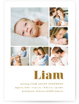 This is a yellow birth announcement by Ana Sharpe called Bold Arrival with standard printing on smooth signature in standard.