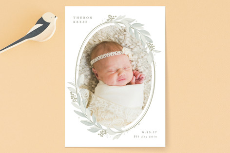 Lovely Wreath Birth Announcements