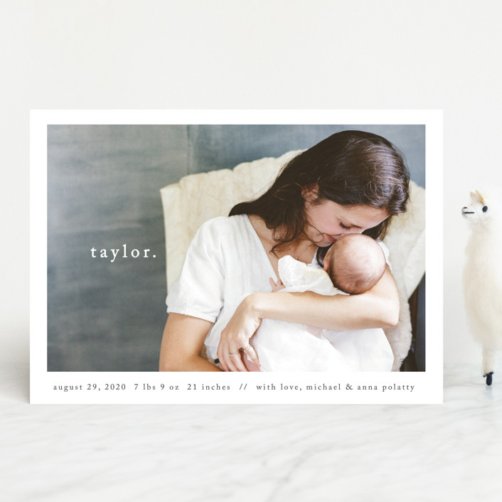 """Simple Type"" - Modern Birth Announcements in Midnight by Faith Dorn."