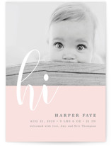 This is a pink birth announcement by Ana Sharpe called Glee with standard printing on smooth signature in standard.