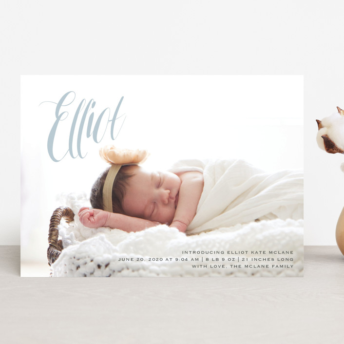 """In the Clouds"" - Modern Birth Announcements in Slate by Kasia Labocki."