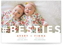 This is a red birth announcement by The Carillos called Hashtag Besties with standard printing on smooth signature in standard.