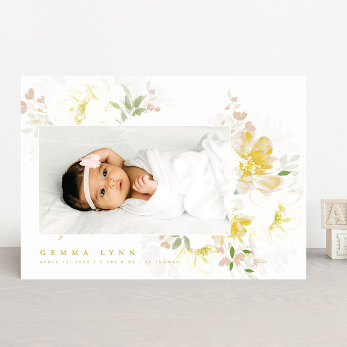 """Draping Blooms"" - Birth Announcements in Canary Yellow by Grace Kreinbrink."