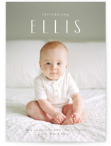 This is a white birth announcement by Jennifer Wick called in name only with standard printing on signature in standard.