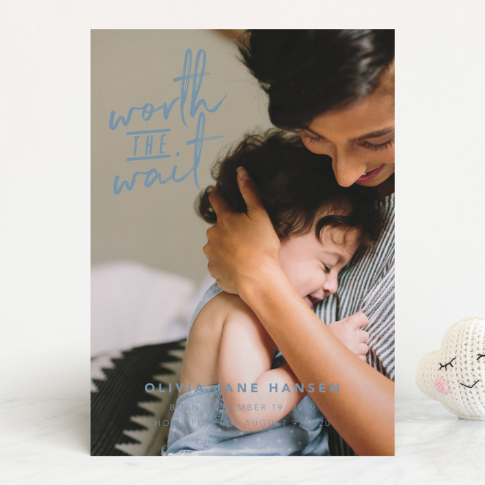 """Worth the Wait"" - Funny, Modern Birth Announcements in Cloud by Hudson Meet Rose."