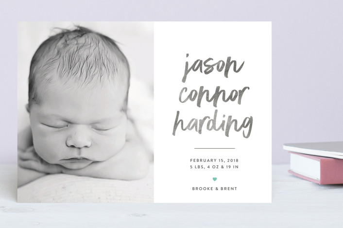 """In Bold Print"" - Birth Announcements in Petal by That Girl Press."