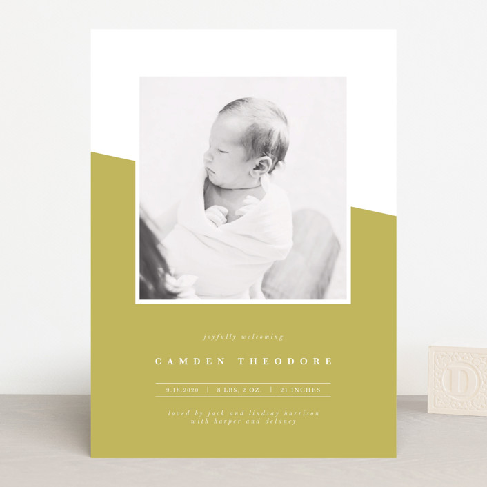 """life"" - Modern Birth Announcements in Chartreuse by Ekko Studio."
