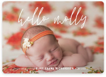 This is a white birth announcement by Up Up Creative called Le Nom Court with standard printing on smooth signature in standard.