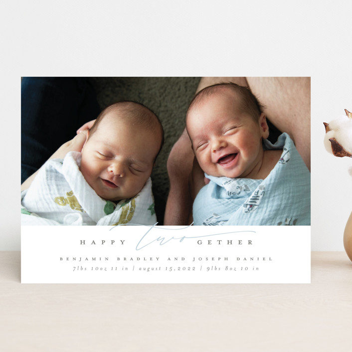 """""""twogether"""" - Funny Birth Announcements in Bluebird by Ana de Sousa."""