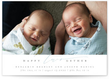 This is a blue birth announcement by Ana de Sousa called twogether with standard printing on signature in standard.