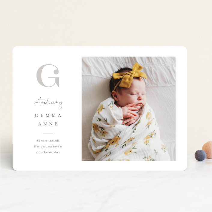 """Initial Love"" - Preppy Birth Announcements in Gray by Carolyn MacLaren."