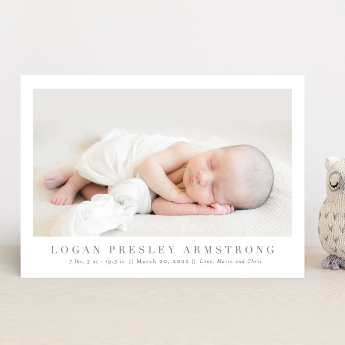 """""""Menil"""" - Birth Announcements in Fawn by Toast & Laurel."""