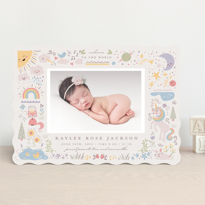 """""""Cute World"""" - Whimsical & Funny Birth Announcements in Poppy by Katie Zimpel."""
