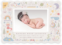 This is a pink birth announcement by Katie Zimpel called Cute World with standard printing on smooth signature in standard.