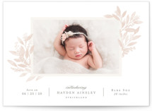 This is a pink birth announcement by Hooray Creative called Botanical Corners with standard printing on smooth signature in standard.