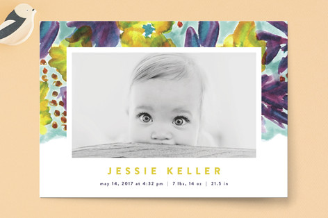 Bright Blooms Birth Announcements