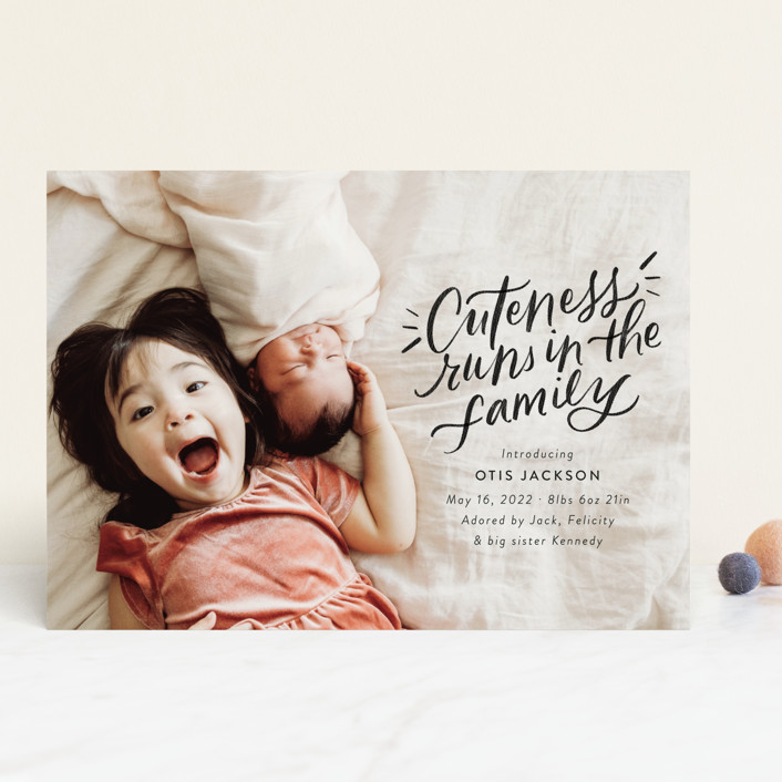 """""""Cuteness Runs in the Family"""" - Funny, Modern Birth Announcements in Night by Jackie Crawford."""