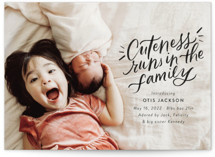 This is a black birth announcement by Jackie Crawford called Cuteness Runs in the Family with standard printing on signature in standard.