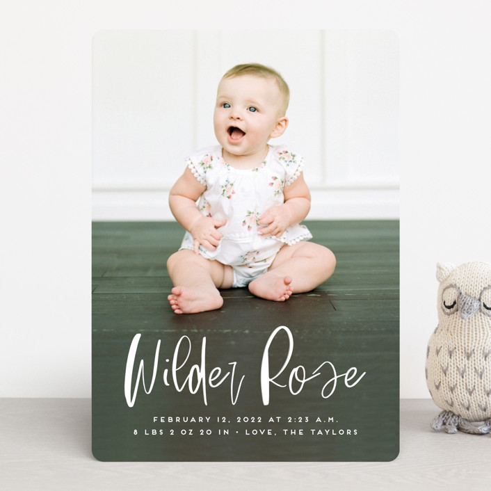 """Whimsical Name"" - Modern Birth Announcements in White Linen by Erica Krystek."