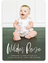 This is a white birth announcement by Erica Krystek called Whimsical Name with standard printing on smooth signature in standard.