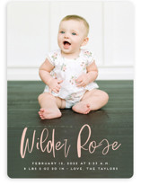 This is a pink birth announcement by Erica Krystek called Whimsical Name with standard printing on smooth signature in standard.