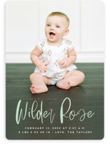 This is a green birth announcement by Erica Krystek called Whimsical Name with standard printing on smooth signature in standard.