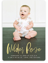 This is a yellow birth announcement by Erica Krystek called Whimsical Name with standard printing on smooth signature in standard.