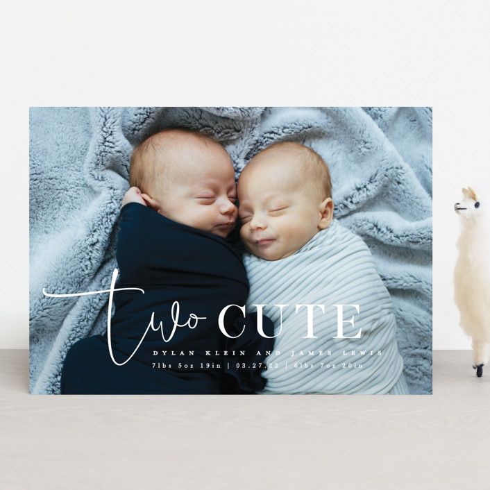 """""""Two Cute"""" - Funny Birth Announcements in Silk by Creo Study."""