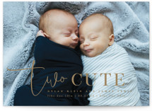 This is a brown birth announcement by Creo Study called Two Cute with standard printing on smooth signature in standard.