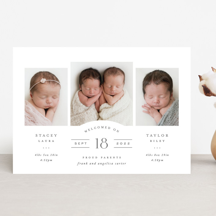 """""""Twinsies"""" - Preppy Birth Announcements in Slate by Hooray Creative."""
