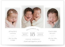 This is a grey birth announcement by Hooray Creative called Twinsies with standard printing on smooth signature in standard.