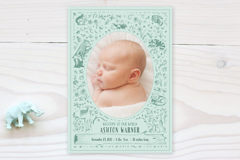 Woodland Animals Birth Announcements