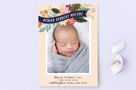 Floral Banner Birth Announcements