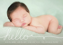 A Handwritten Hello Birth Announcements By Lehan Veenker