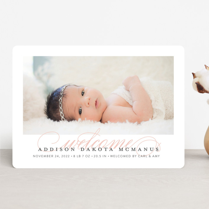 """""""Graceful Entrance"""" - Birth Announcements in Flamingo by Jessica Williams."""