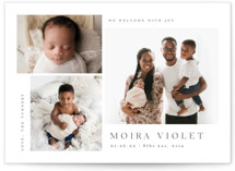 This is a grey birth announcement by Carolyn MacLaren called Welcome with Joy with standard printing on signature in standard.